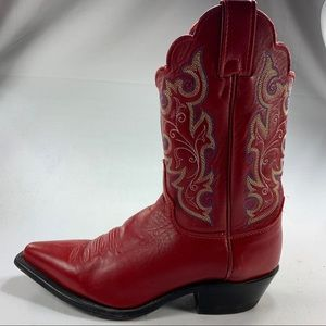 Justin Boots Red Leather Western Ladies Sz 7.5